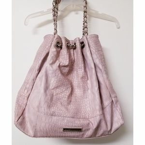 BCBGeneration Dusty Rose Faux Croc Hobo Bag